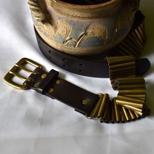 Leather & Brass Belt From NY&Co Sz M